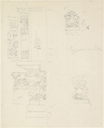 Drawing from a set of sixteen architectural details from Hindu and Muhammadan buildings in India, including Colgong, Deo, Bodhgaya. 1788-93 1777